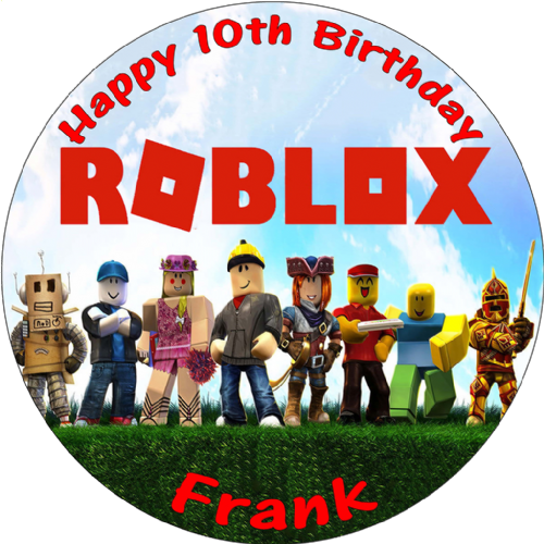 ROBLOX PERSONALISED ROUND EDIBLE BIRTHDAY CAKE TOPPER